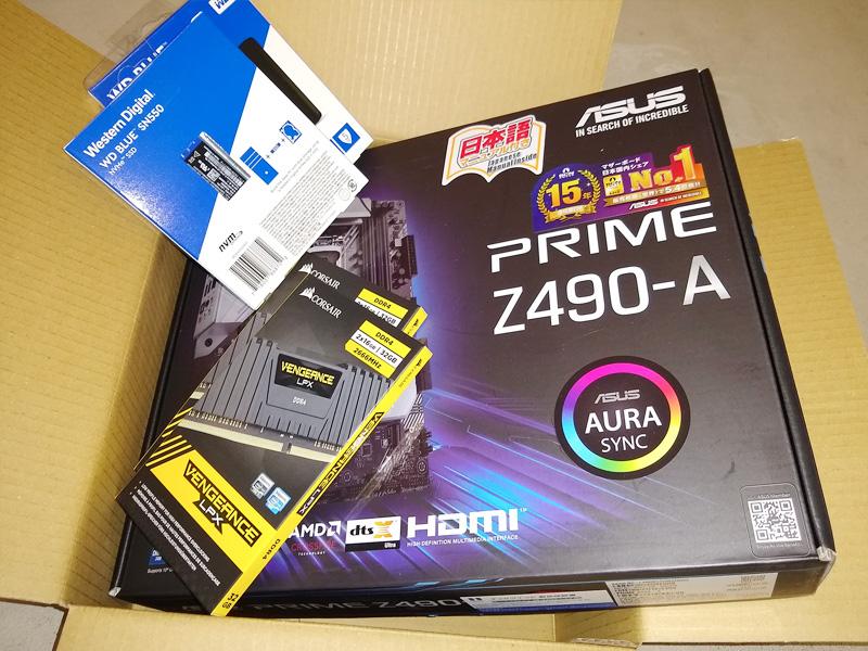 パソコン組み立て用のパーツ ・マザーボード ・M.2 SSD ・メモリ